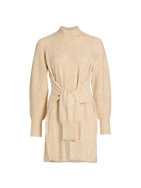 Kate Tie-Front Balloon-Sleeve Sweater Dress