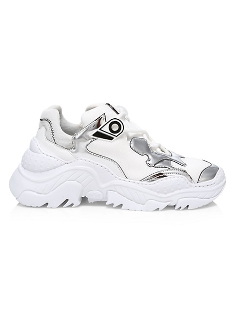 Billy Chunky Mix Media Leather Sneakers