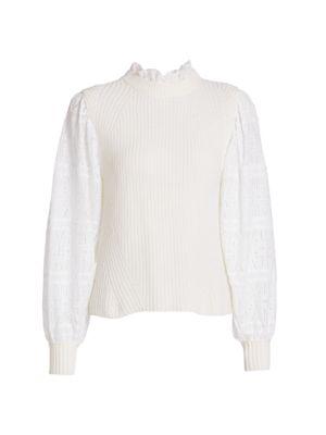 Sea Iris Eyelet Sleeve Combo Sweater