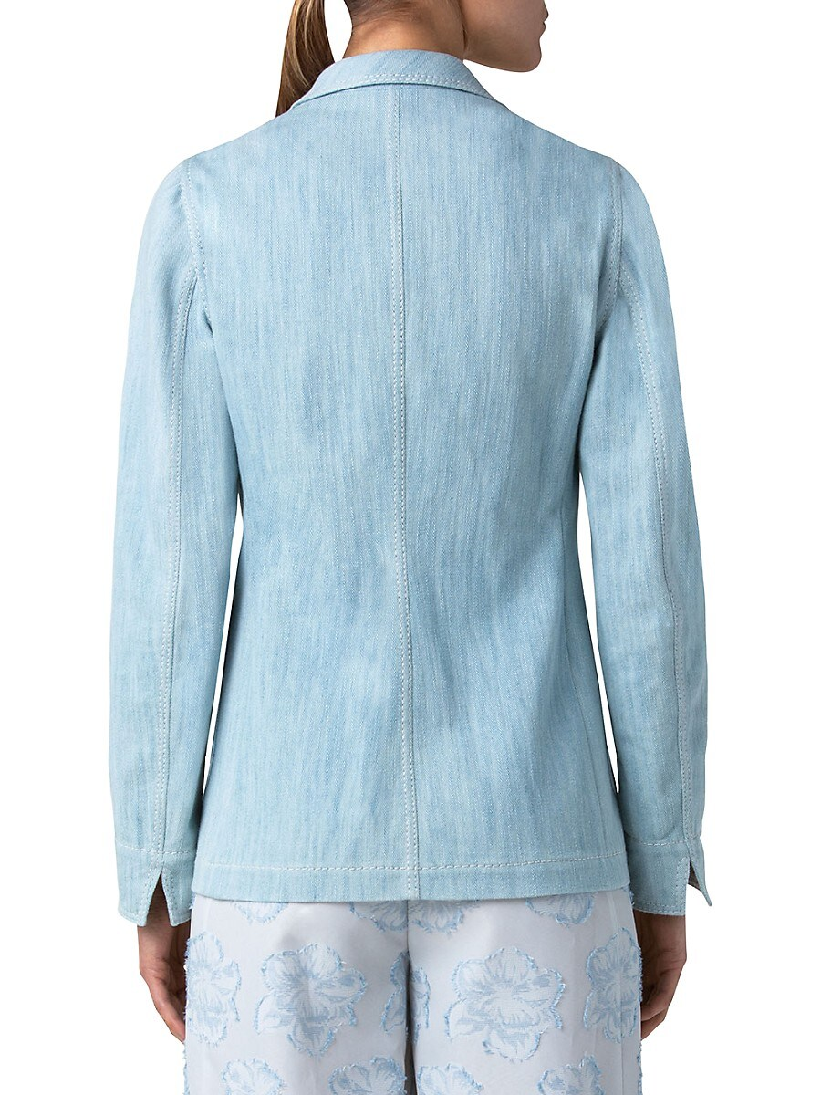 AKRIS PUNTO Denims WOMEN'S WASHED DENIM BLAZER JACKET