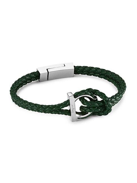 Silvertone & Braided Leather Bracelet