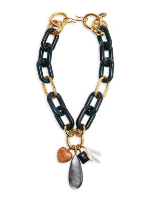 Lizzie Fortunato Forest 18K Goldplated, Acrylic & Mixed-Stone 4-Charm Chunky Link Necklace