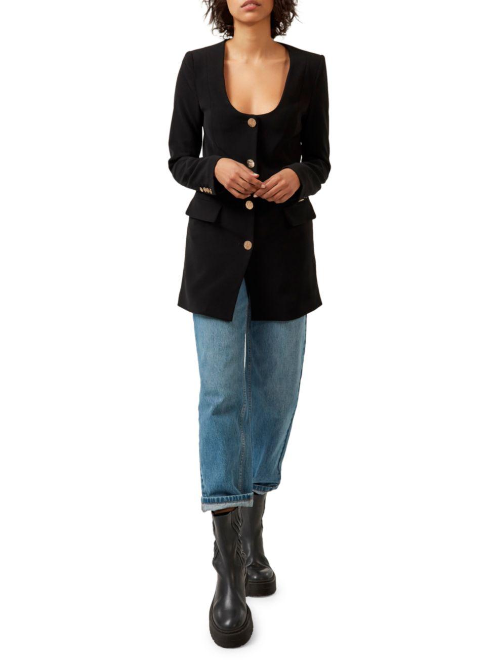 Gestuz Joelle Long Scoopneck Blazer Jacket   SaksFifthAvenue