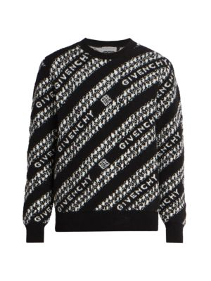 Givenchy Logo Intarsia Chain Wool-Blend Sweater
