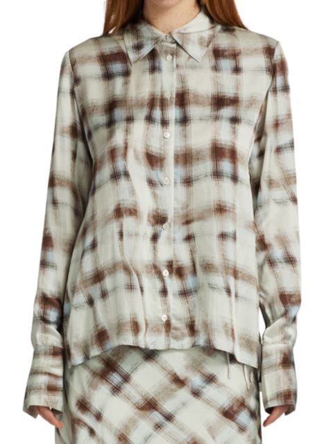 Proenza Schouler White Label Hammered Charmeuse Button-Up Shirt   SaksFifthAvenue