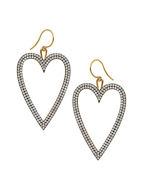 Edgy Two-Tone & Pavé Heart Drop Earrings
