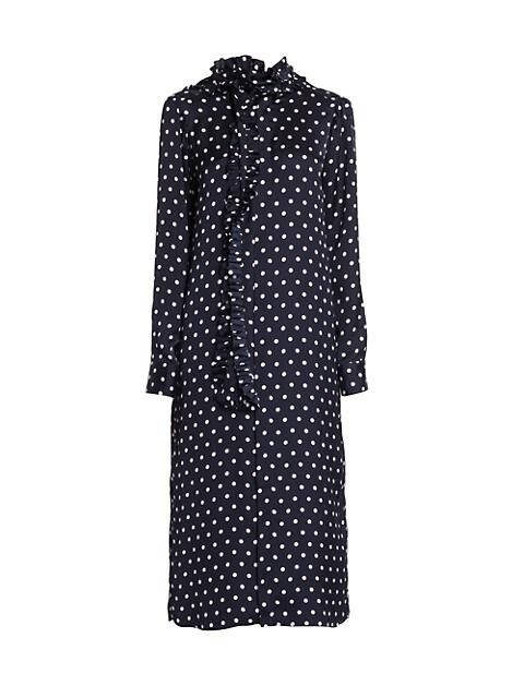 Polka Dot Ruffle Scarf Midi Dress