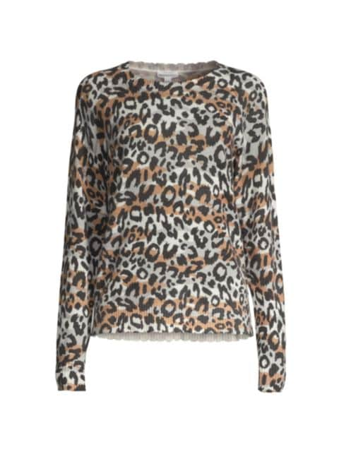 Minnie Rose Cashmere Leopard-Print Crewneck Sweater   SaksFifthAvenue