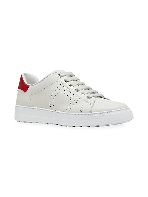 Pierre Perforated Logo Leather Sneakers