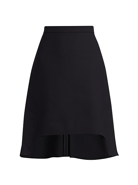 Light Wool & Silk High-Low Mini Skirt
