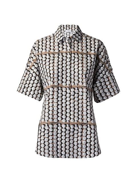 Parasol-Print Collared Short-Sleeve Shirt