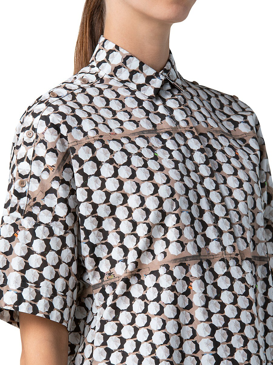AKRIS PUNTO Cottons WOMEN'S PARASOL-PRINT COLLARED SHORT-SLEEVE SHIRT