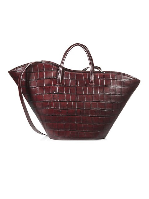 Medium Tulip Croc-Embossed Leather Tote