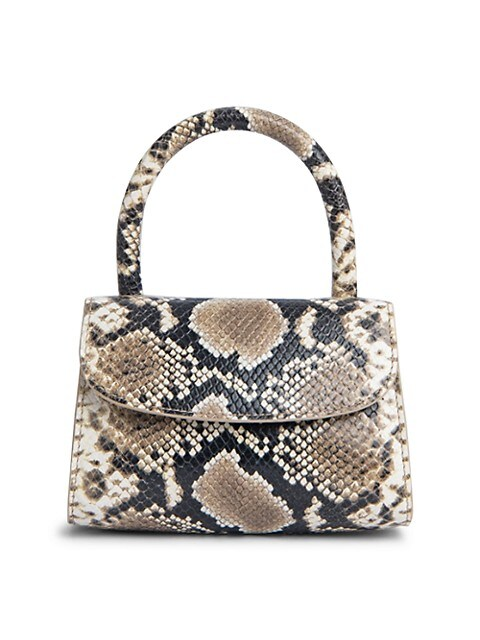 Mini Snakeskin-Embossed Leather Top Handle Bag