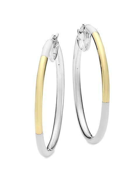 Classico Two-Tone & White Ceramic Medium Hoop Earrings