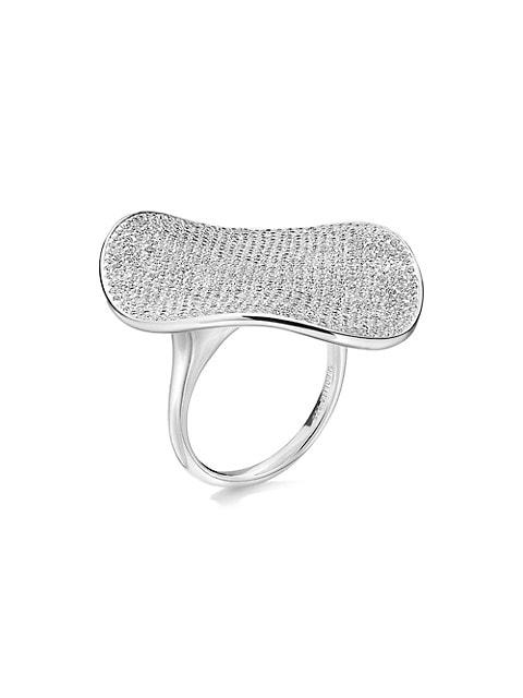 Stardust Sterling Silver & Diamond Large Flower Ring