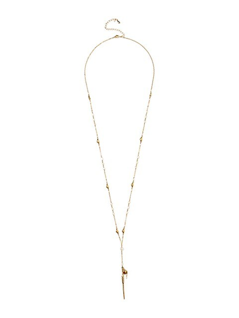 18K Goldplated & 3-8MM Freshwater Pearl Dagger Chain Necklace