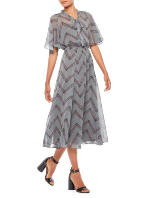 Emporio Armani Chevron Crepe Dress   SaksFifthAvenue