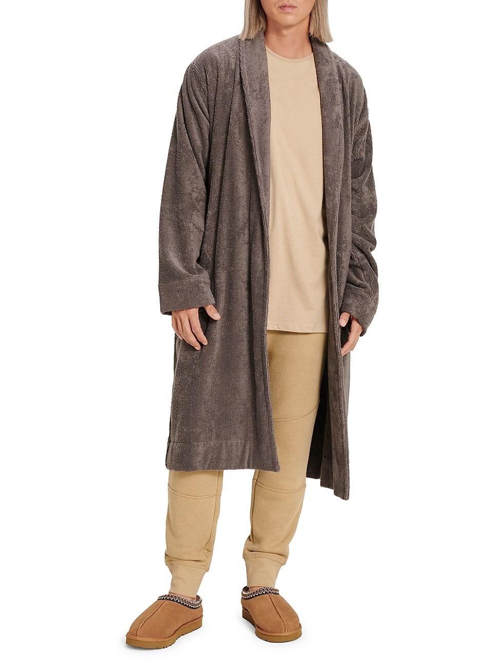 Ugg Men's Novelty Turner Terry Robe In Dark Grey
