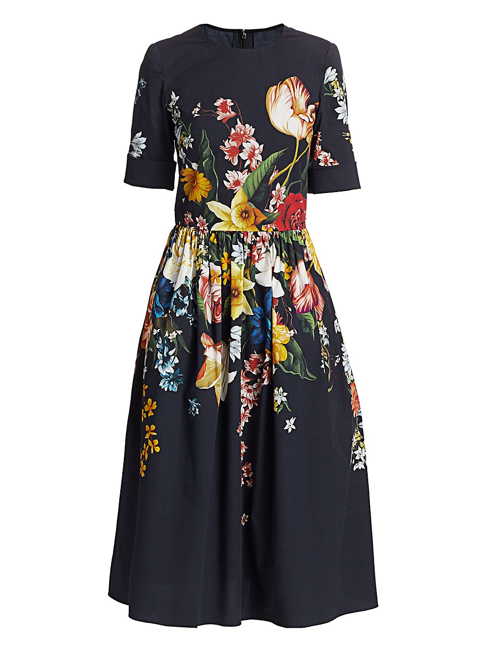 Oscar De La Renta WOMEN'S FLORAL STRETCH-COTTON DRESS