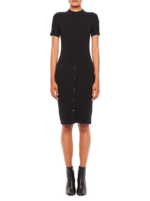 Button-Front Short-Sleeve Dress