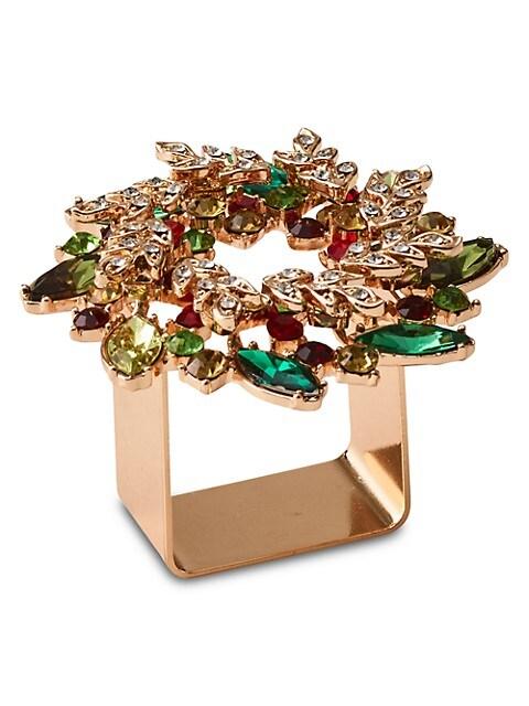4-Piece Gem Wreath Napkin Ring Set