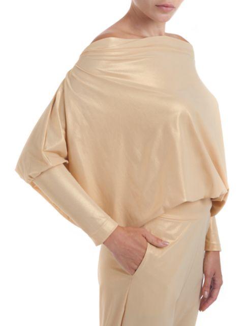 Chiara Boni La Petite Robe Lakshimi Dolman-Sleeve Lame Top   SaksFifthAvenue