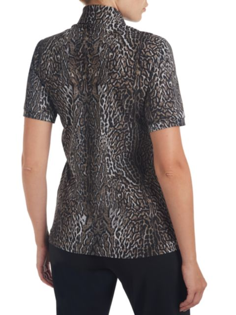 Chiara Boni La Petite Robe Sacha Leopard-Print Short-Sleeve Blouse | SaksFifthAvenue