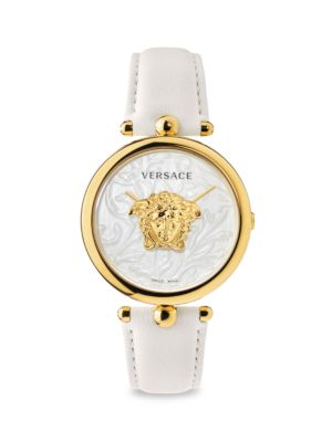 Versace Men's Palazzo Empire Ip White & Goldtone Leather Strap Watch