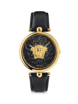 Versace Men's Palazzo Empire Ip Black & Goldtone Leather Strap Watch