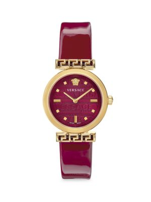 Versace Men's Meander Goldtone Leather Strap Watch In Red