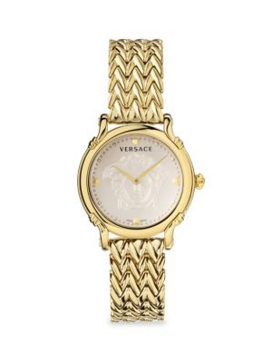 Versace Men's Safety Pin Yellow Goldplated Bracelet Watch