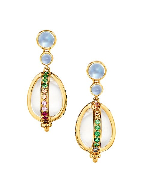 Celestial 18K Yellow Gold & Rainbow Multi-Stone Amulet Earrings