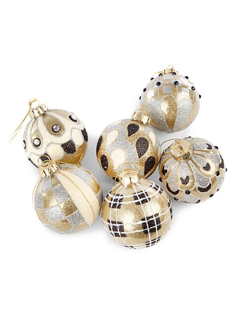 Mackenzie Childs Golden Hour 6 Piece Glass Ball Ornament Set Saksfifthavenue