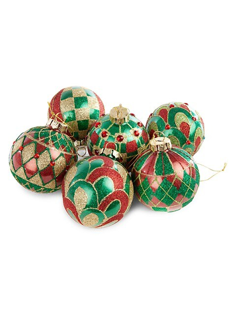 Mackenzie Childs Aberdeen 6 Piece Glass Ball Ornament Set Saksfifthavenue
