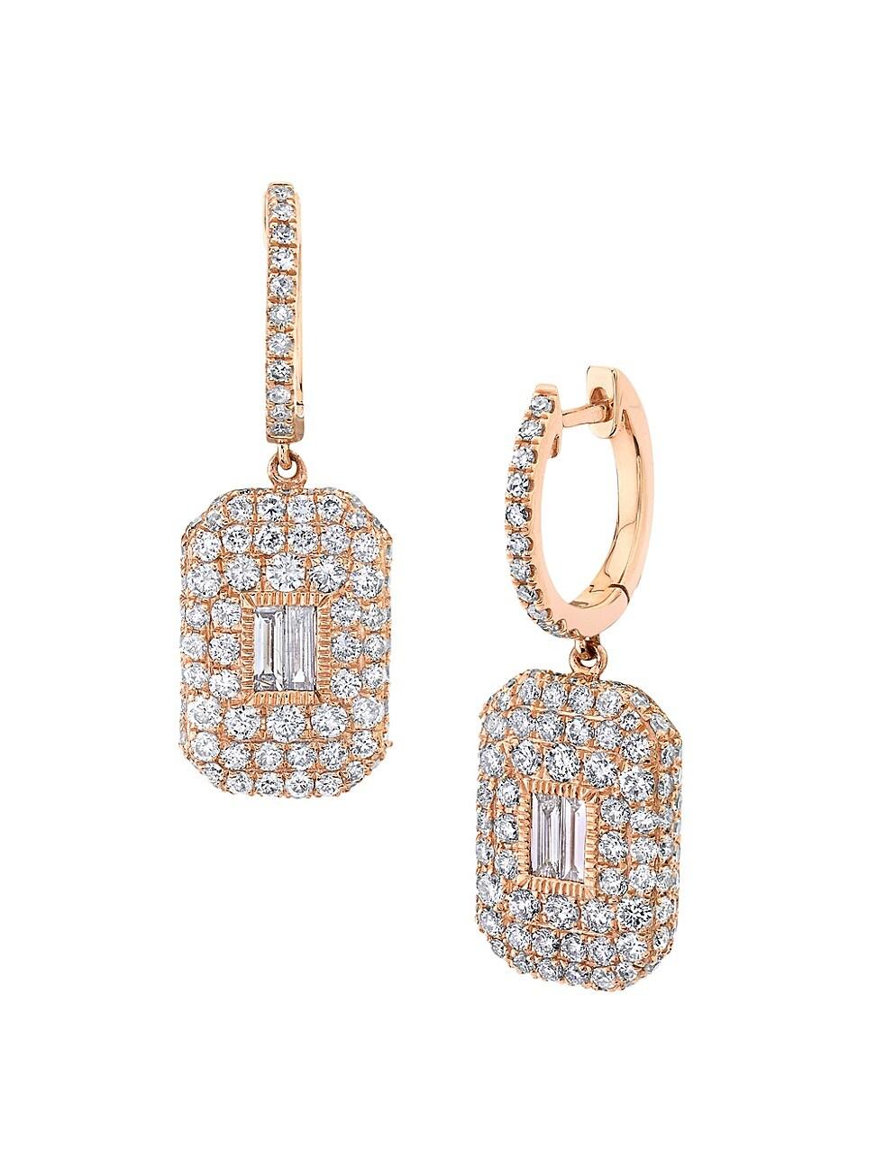 Shay WOMEN'S NEW MODERN 18K ROSE GOLD & DIAMOND BAGUETTE DROP EARRINGS