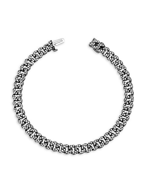 Links 18K Black Gold & Diamond Pavé Curb-Link Bracelet