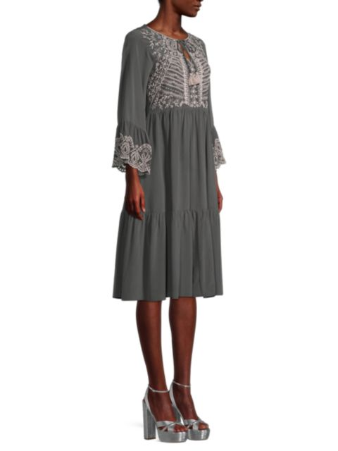 Johnny Was Luana Embroidered Flounce Midi Dress | SaksFifthAvenue