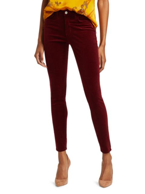 L'Agence Marguerite High-Rise Velvet Skinny Pants   SaksFifthAvenue