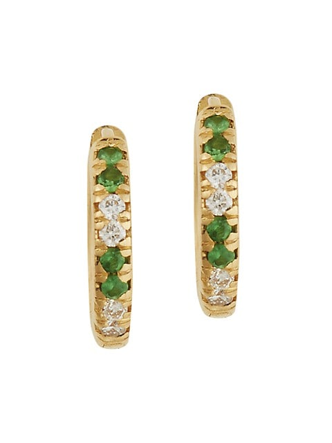 Classic 18K Yellow Gold, Diamond & Tsavorite Mini Hoop Earrings