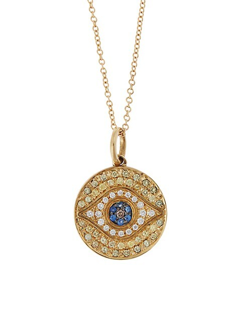 Evil Eye 18K Yellow Gold, White Diamond, Brown Diamond, Yellow Sapphire & Blue Sapphire Pendant Neck