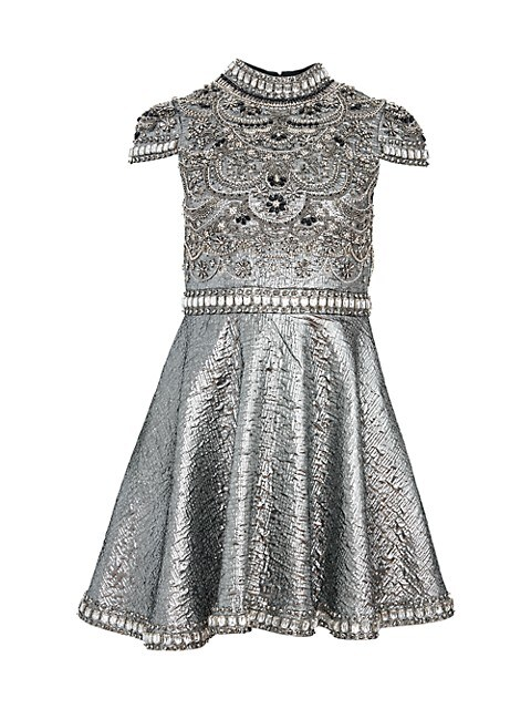 Floretta Metallic Embroidered Mini A-Line Dress