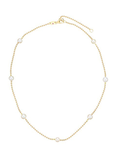 18K Yellow Gold & 4MM Pearl Station Beaded Chain Necklace