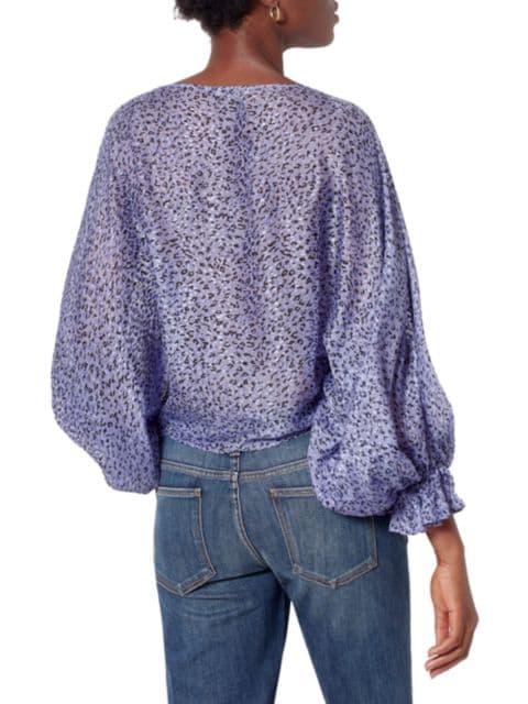 Joie Nylah Silk-Blend Printed Blouson-Sleeve Top | SaksFifthAvenue
