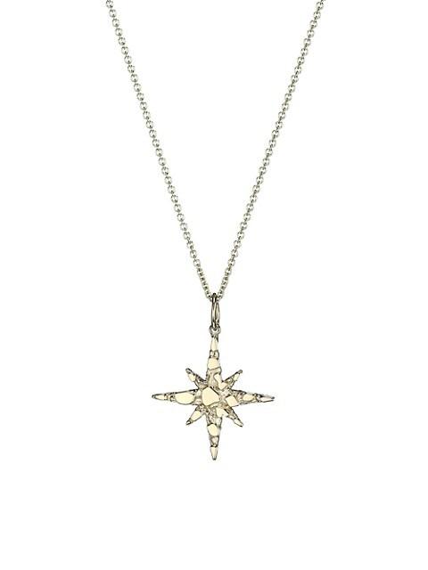 14K Yellow Gold Nugget Starburst Pendant Necklace