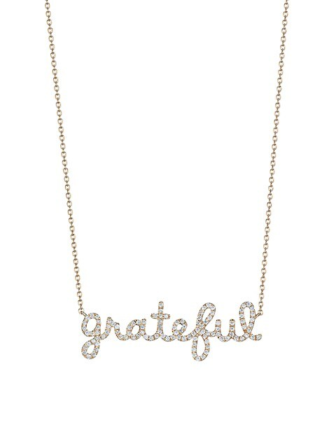 14K Yellow Gold & Diamond Grateful Necklace