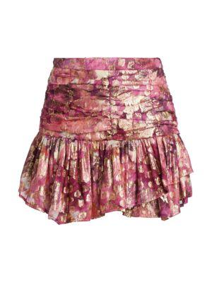 Loveshackfancy Moe Metallic Flounce Mini Skirt