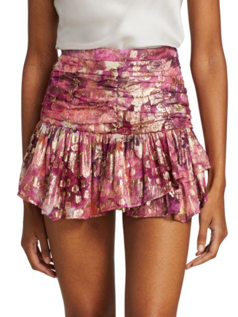 LoveShackFancy Moe Metallic Flounce Mini Skirt | SaksFifthAvenue