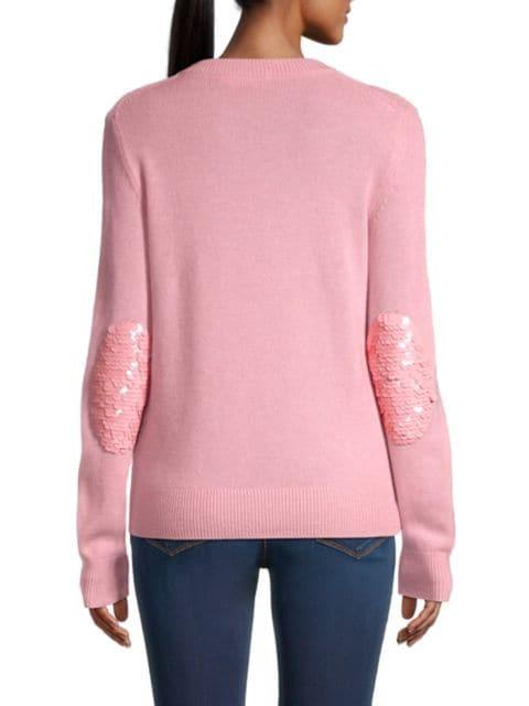 Tory Burch Cashmere Sparkle Elbow-Patch Sweater | SaksFifthAvenue