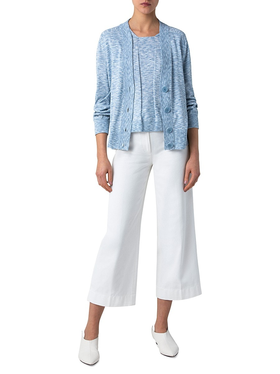 AKRIS PUNTO Denims WOMEN'S MÉLANGE V-NECK CARDIGAN